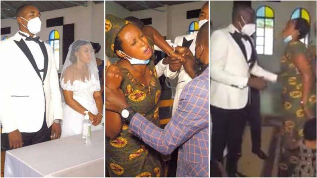 Angry wife storms husbands wedding